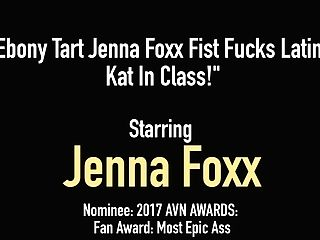 Dark-hued Tart Jenna Foxx Knuckle Fucks Latina Kat In Class!