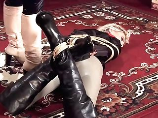 Leather Women In Another Restrain Bondage Duel