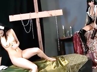Stephanie Sage In Two Spandex Nuns Playing