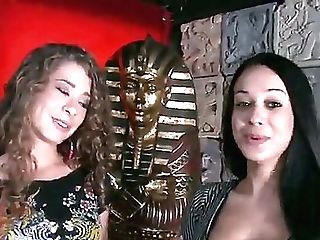 Whorish Black Haired Mummy With Big Tits In Sexy Sundress And Lengthy Haired Playful Dark Haired In Pink Hot Pants Get Mischievous And Smooch While Ta