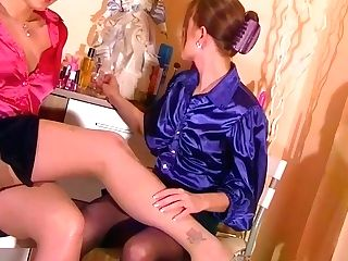Two Horny Black-haired Honies In Nylon Pantyhose Fondle Their Gams
