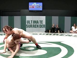 Rd2: Rib Crushing Scissor Holds, Brutal Head Locksfinger Foray During The Wresting. - Publicdisgrace