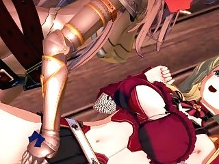 Katalina Strap-on Fucks Zeta Doggystyle Against A Wall - Granblue Fantasy Manga Porn